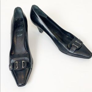 Salvatore Ferragamo Black Logo Kitten Heel Pumps